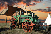 Rodeos Prints - Sunset Wagon Print by Robert Anschutz