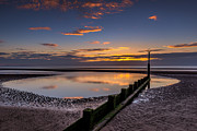 Groyne Prints - Sunset Wales Print by Adrian Evans