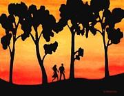 Sunset Walk Print by SophiaArt Gallery