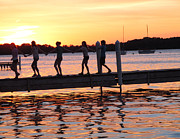 Lake Mendota Prints - Sunset Walkers Print by Tom Hefko