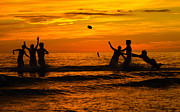 Ft. Meyers Beach Framed Prints - Sunset Water Football Framed Print by Anne Kitzman