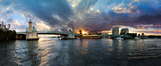 River Scenes Photos - Sunset Waterway Panorama by Debra and Dave Vanderlaan