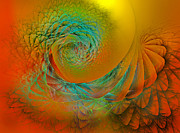 Yellows Digital Art Prints - Sunset Wave Print by East Coast Barrier Islands Betsy A Cutler