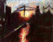 Street Scene Pastels - Sunset With Cranes 2 by Donna Crosby