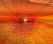 Beach Photograph Mixed Media Posters - Sunset with Flower by Saribelle Rodriguez Poster by Saribelle Rodriguez