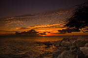 Poipu Photos - Sunset with the fisherman by Tin Lung Chao
