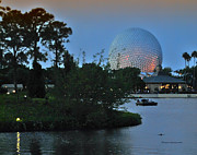 World Showcase Lagoon Framed Prints - Sunset World Showcase Lagoon Framed Print by Thomas Woolworth