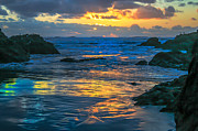 Layered Prints - Sunset Yellow Reflections Print by Robert Bales