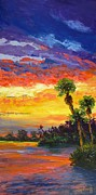 Beach Scene Paintings - Sunsets Afterglow by Pat Heydlauff