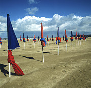 Sandy Beaches Framed Prints - Sunshades on the beach. Deauville. Normandy. France. Europe Framed Print by Bernard Jaubert