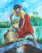 Tamilnadu Paintings - Sunshine girl by Ragunath Venkatraman