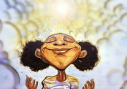 African-american Mixed Media Posters - Sunshine Girl Poster by Tu-Kwon Thomas