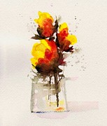Roses Poppies Paintings - Sunshine in a Vase by Anne Duke