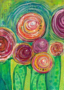 Texture Floral Painting Prints - Sunshine Lollipops and Rainbows - Right Panel Print by Tanielle Childers