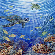Green Sea Turtle Painting Metal Prints - Sunshine Reef Metal Print by Danielle  Perry
