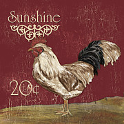 White Photo Posters - Sunshine Rooster Poster by Debbie DeWitt