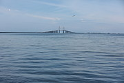 St Petersburg Florida Metal Prints - Sunshine Skyway Blue Metal Print by Carol Groenen