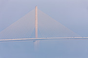 Sunshine Skyway Bridge Prints - Sunshine Skyway Bridge in Fog II Print by Clarence Holmes