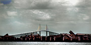 St Pete Prints - Sunshine Skyway Bridge Print by Joseph G Holland