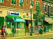 Store Fronts Paintings - Sunsource Food Gift Basket Shop Sherbrooke At The Bus Stop Busy Montreal Street Scene Carole Spandau by Carole Spandau