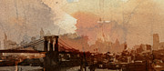 Brooklyn Bridge Digital Art Metal Prints - Sunsrise over Brooklyn Bridge Metal Print by Stefan Kuhn