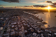 West Photo Prints - Sunstar Sunset West Seattle Print by Mike Reid