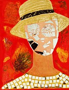 Straw Hat Mixed Media Posters - Sunstruck Poster by Elizabeth  Bogard