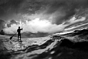Seascape Art Prints - SUP Storm Print by Sean Davey