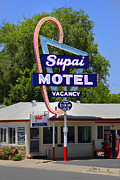 Hotel Digital Art Posters - Supai Motel - Seligman Poster by Mike McGlothlen