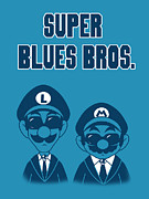 Super Mario Bros Digital Art Framed Prints - Super Blues Bros. Framed Print by Brian Campbell