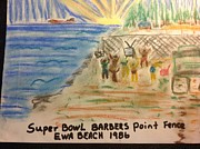 Pro Football Drawings Posters - Super Bowl Ewa Beach Poster by Willard Hashimoto