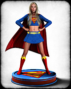 Frederico Borges Digital Art Prints - Super Girl v2 Print by Frederico Borges