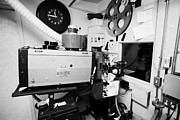 Projector Prints - super lume-x lamphouse film projector in old cinema projection room Biggar Saskatchewan Canada Print by Joe Fox
