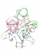 Yoshi Prints - Super Mario with Luigi Yoshi Coloured Pencil Drawing  Print by Steven Davis