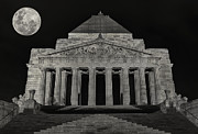 Australia Photographs Photos - Super Moon behind Shrine of Remembrance  by Kim Andelkovic