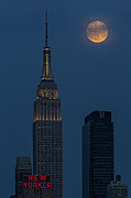 Full Moon Posters - Super Moon By The Empire State Building NYC Poster by Susan Candelario