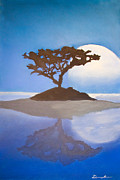 Framed Pastels Originals - Super Moon by Dana Kern