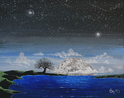 Constellations Paintings - Super Moon by Jim Bowers