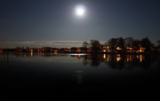 Landscape Greeting Cards Prints - Super Moon  Print by Mark Ashkenazi