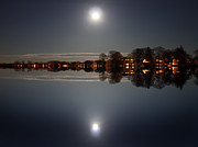 Waters Digital Art - Super Moon Night    by Mark Ashkenazi