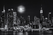 Full Moon Photos - Super Moon Over NYC BW by Susan Candelario