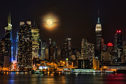New York City Skyline Framed Prints - Super Moon Over NYC Framed Print by Susan Candelario