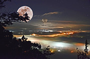 Super Stars Photo Posters - Super Moon Over Roane County Poster by Paul Mashburn