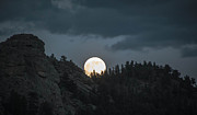 Man-in-the-moon Prints - Super Moon Over the Rockies Print by Cathy Donohoue