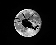 Helicopter Digital Art Prints - Super Stallion Silhouette Print by Al Powell Photography USA