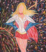 Hyper Pastels Framed Prints - Super Ultra Power Girl Framed Print by Mike Manzi