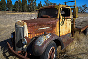 Dilapidated Metal Prints - Super White Truck Metal Print by Garry Gay
