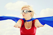 Superstar Photo Prints - Super Woman In Flight Print by Kriss Russell
