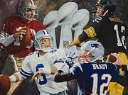 Tom Brady Prints - SuperBowl SuperMen Print by Rob Jackson