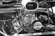 Big Block Chevy Framed Prints - Supercharged in Black and White Framed Print by Gary Silverstein